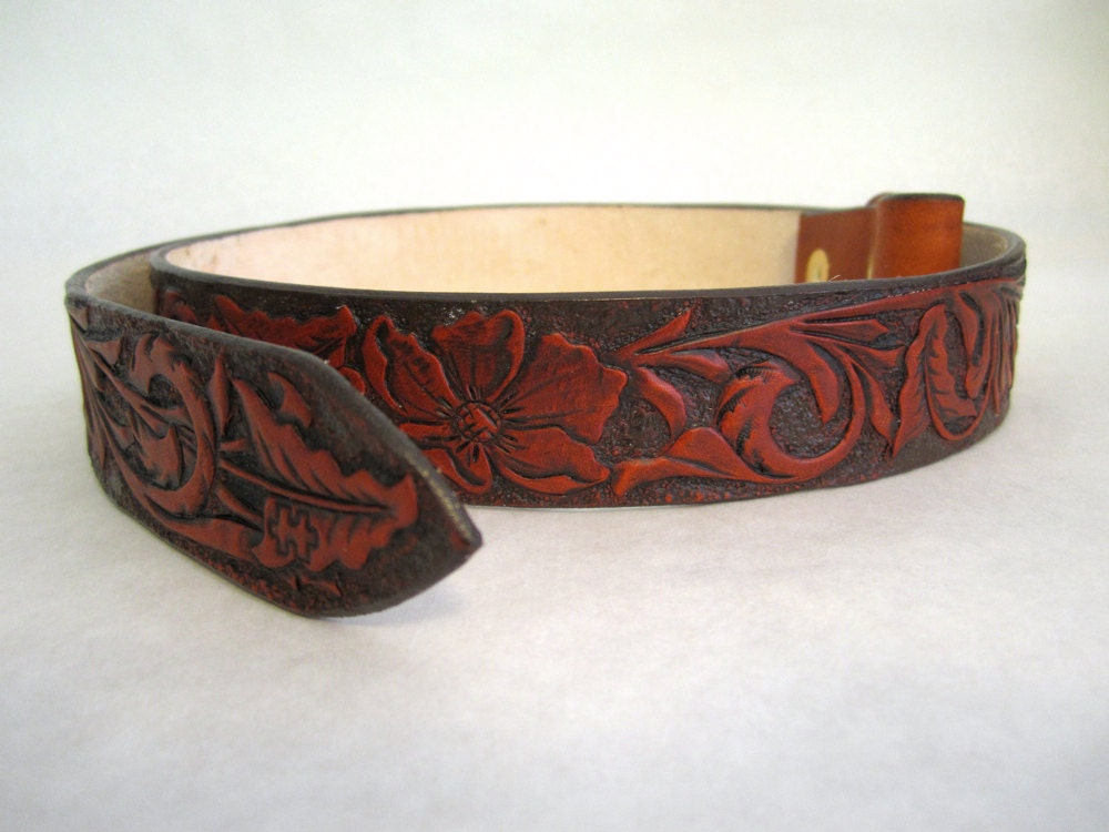 Handtooled leather belt with sheridan floral by