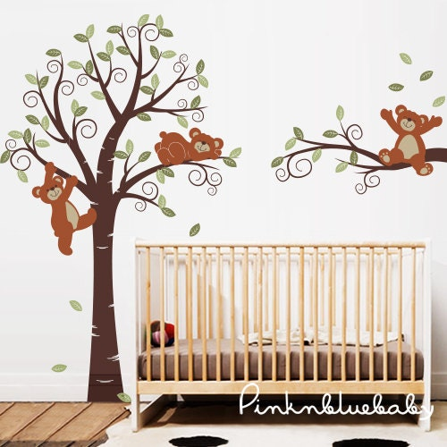 wall decals teddy bears with tree nursery kids by 1000 ideas about geometric bear on pinterest geometric