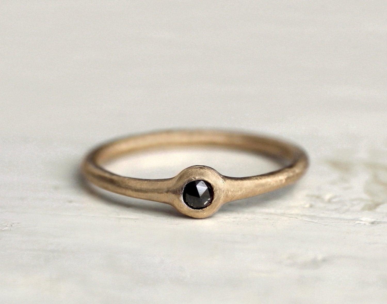 Reserved. Black diamond ring. A sweet little dot. Rose cut. 18k. Gigi