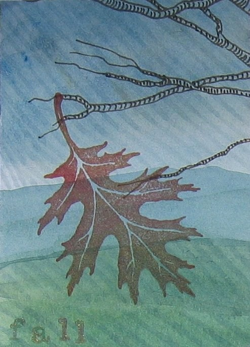 Reduced ACEO - Autumn Leaf/Fall - VAST Team Holiday SALE
