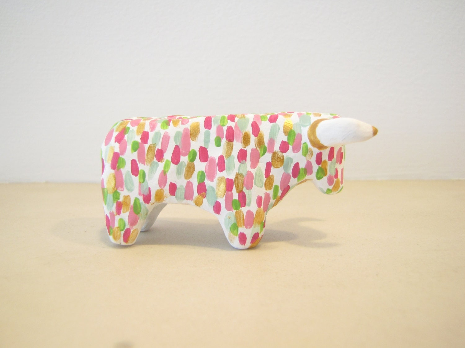 Party Animal Pinata Bull Miniature Figurine in Hand Painted Polymer Clay - fiesta pink, green, gold