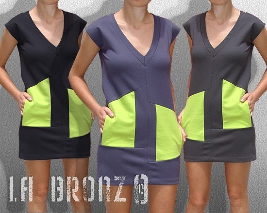 Light Pastel Navy Asymmetrical Dress with Lime pockets