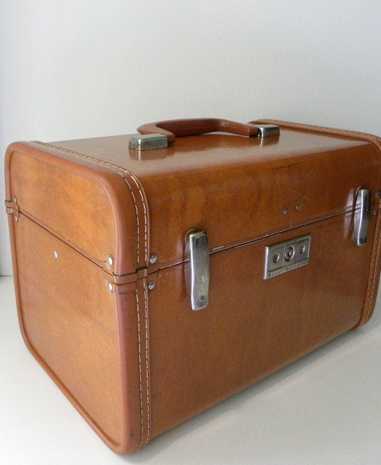 Vintage Train Case - Royal Traveller Warm Caramel Brown Faux Leather Train Makeup Case