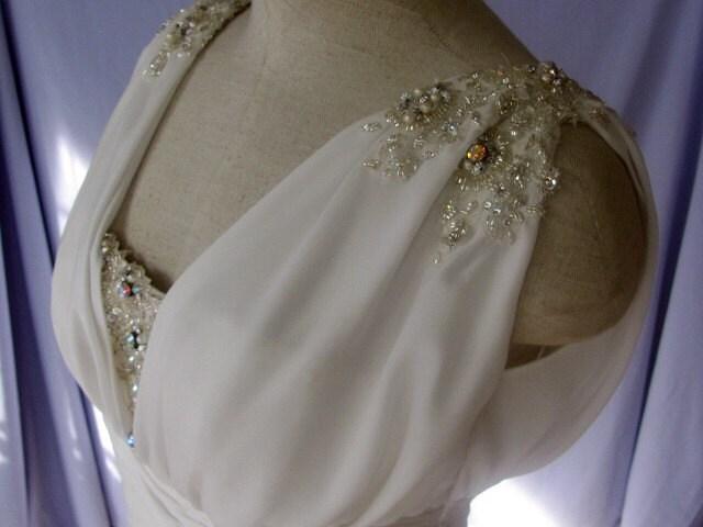 Grecian goddess wedding dress in ivory