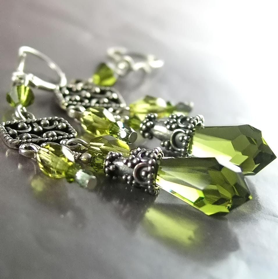 ALLURE Earrings, Olive Green Swarovski Crystals, Sterling Silver
