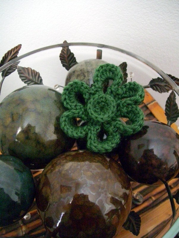 Flower Pin Crocheted Applique - Dark Sage