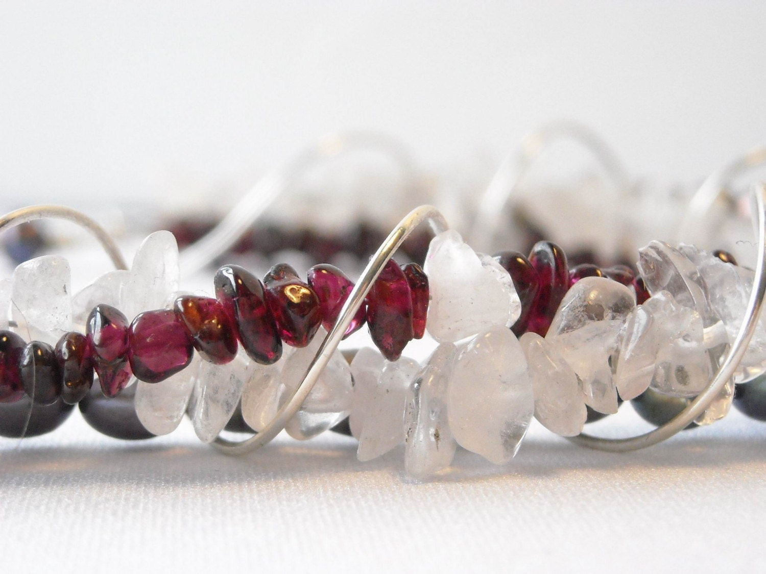 SHOW STOPPER - Garnet, Clear Quartz, Pearl and Sterling Silver Necklace