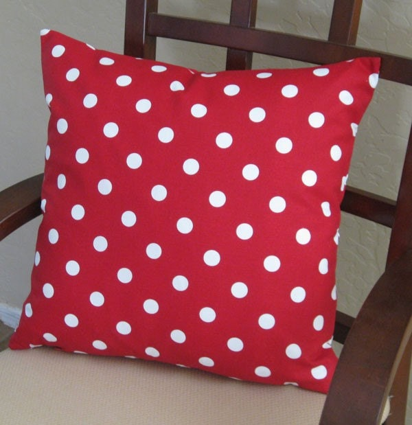 Red and White Polka Dot Throw Pillow Cover