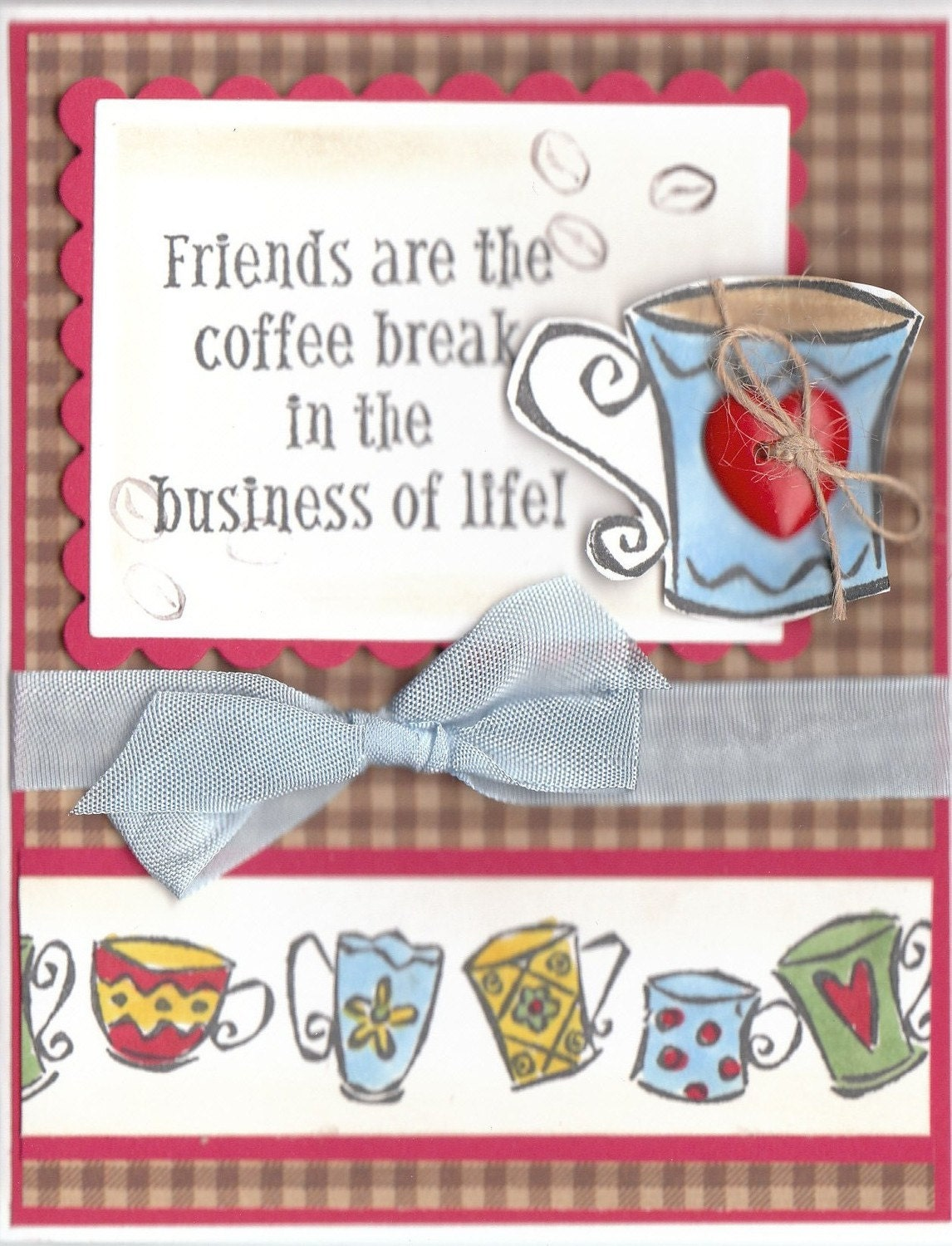 STAMPIN UP SET OF PAD AND MATCHING COFFEE FRIENDSHIP HANMADE CARD