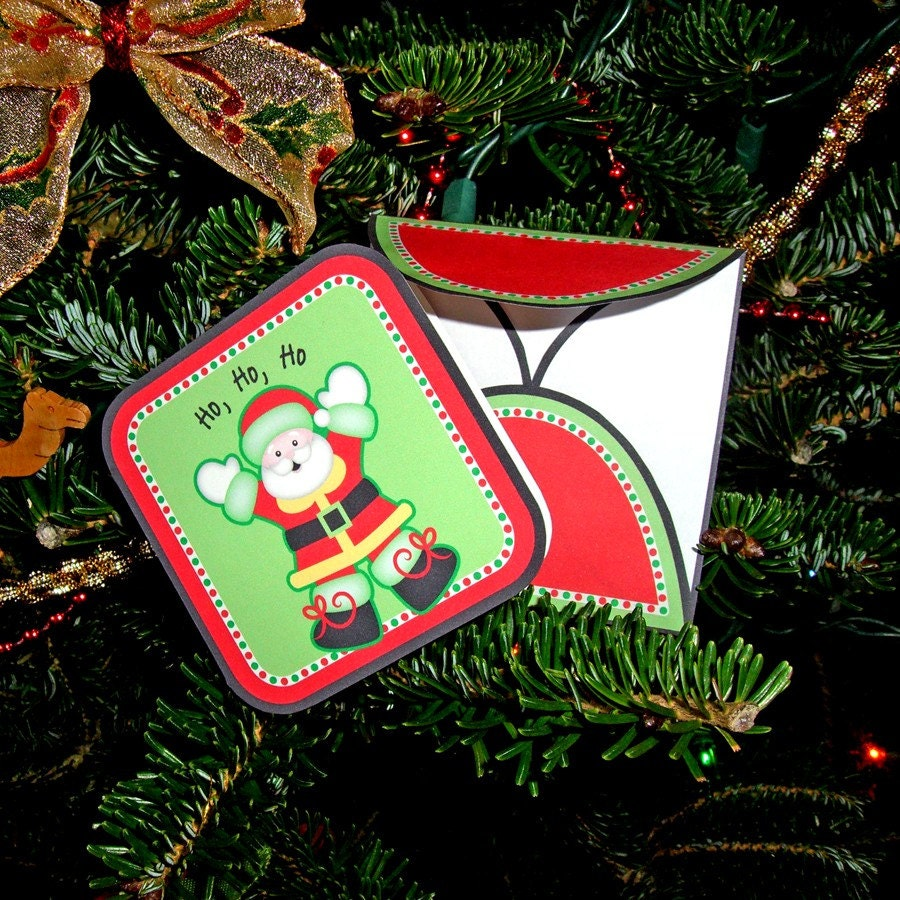3x3 inch Printable Santa Mini Card and matching by HoneyBops
