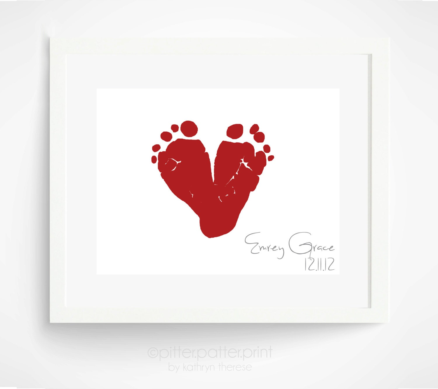 Baby's First Christmas - Gift for New Dad, Gift for New Grandmother - Red Heart Baby Footprint Wall Art - Personalized Holiday Decor - PitterPatterPrint