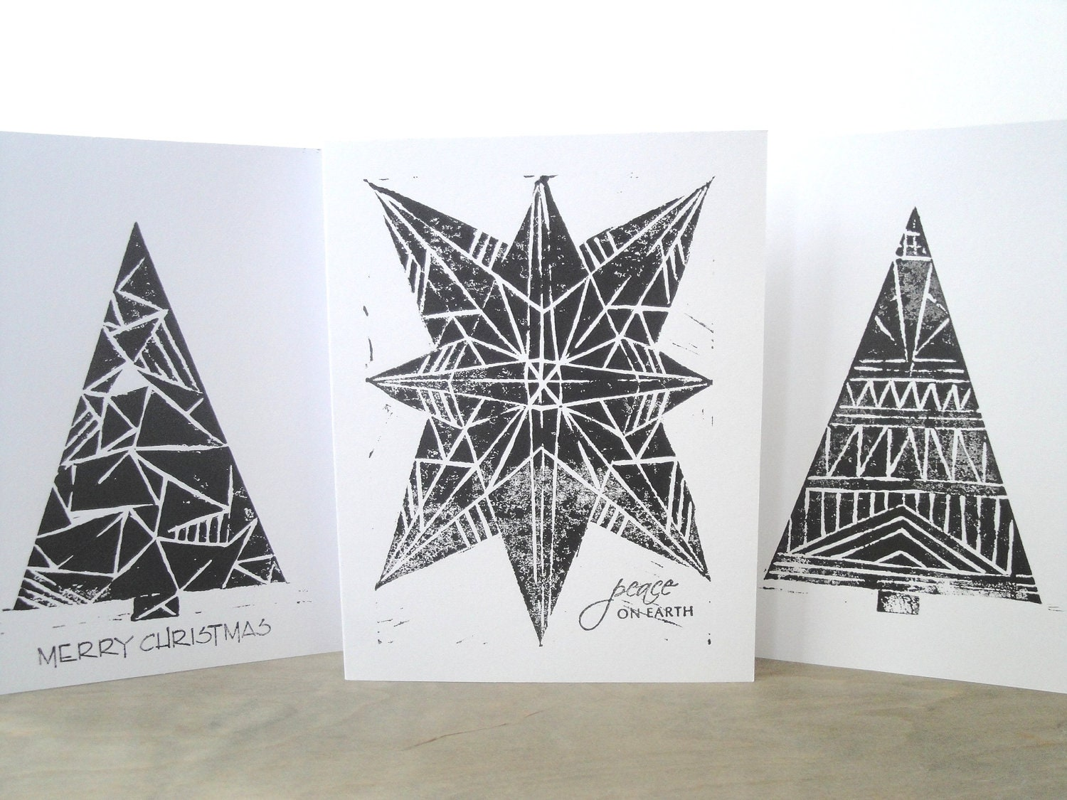 Black and White Holiday Card Set of 3
