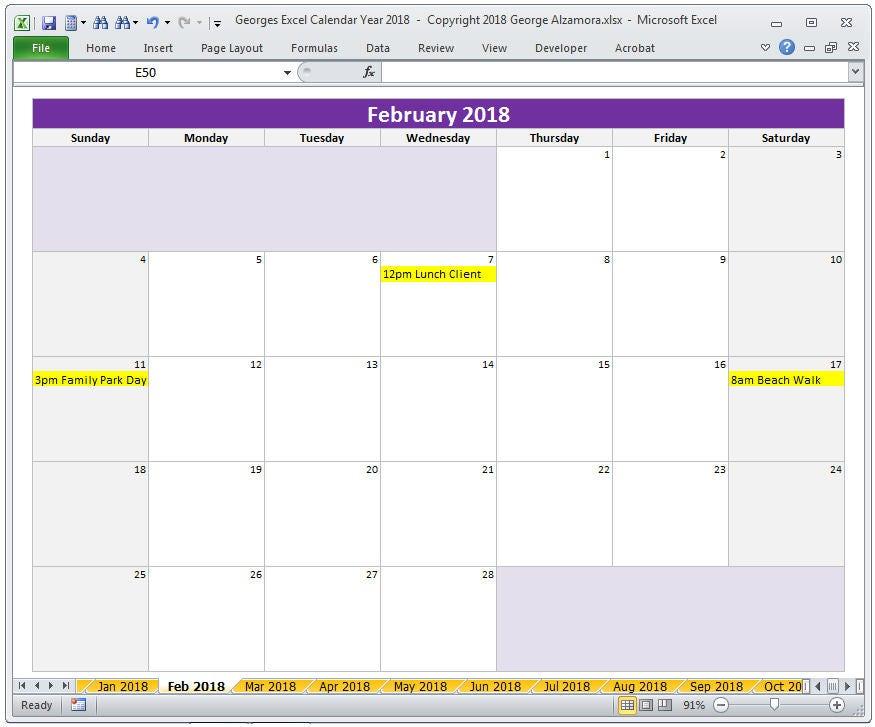 Excel Calendar 2013 Template