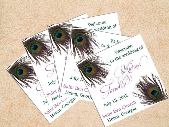 Peacock Feathers Tri Fold Wedding Programs Green and Blue