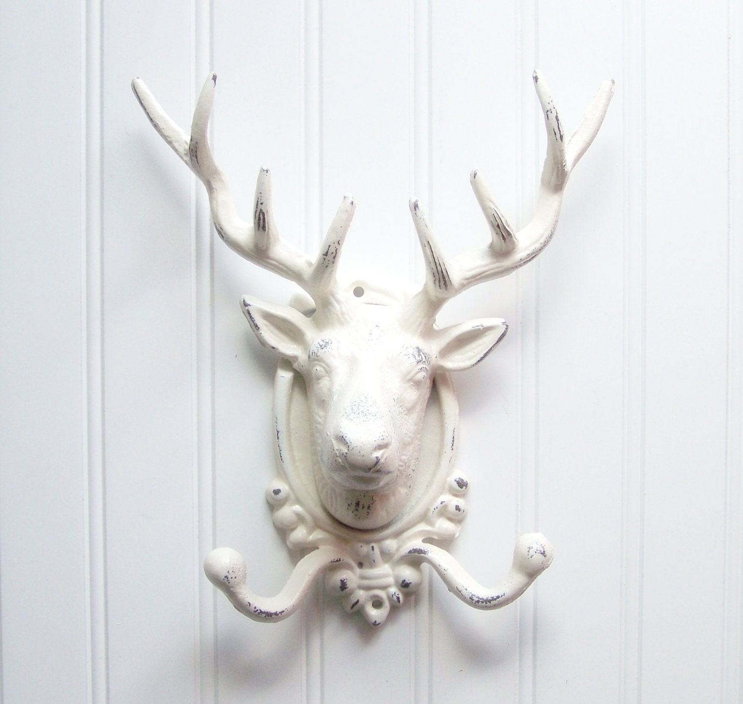 Huge Deer Head Wall Hook / Cast Iron Refinished in Shabby Creamy White / Anthropologie Style