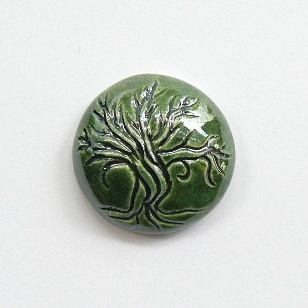 Green Tree Cabochon - blueberribeads