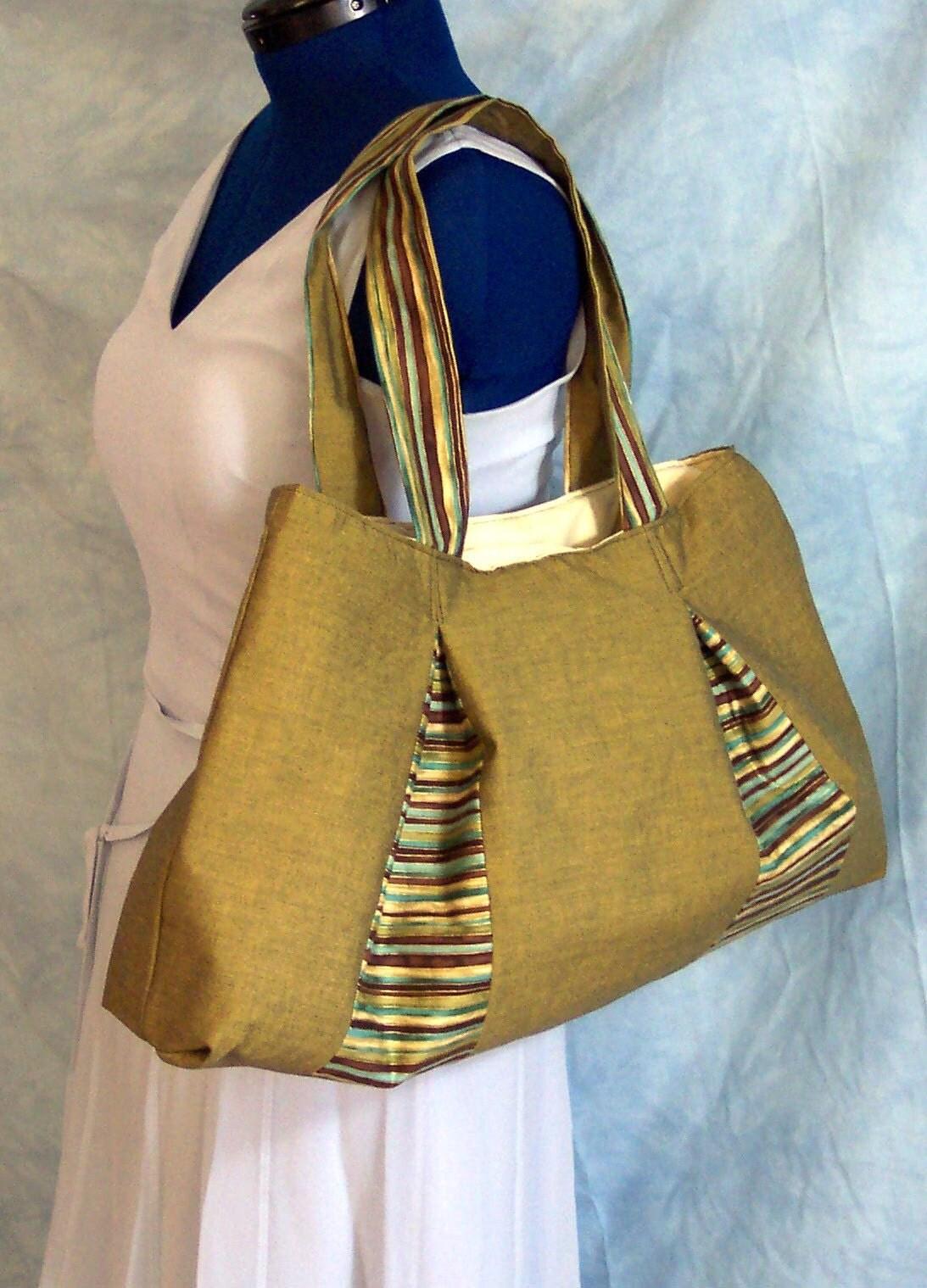 gold satin and stripe shoulder bag