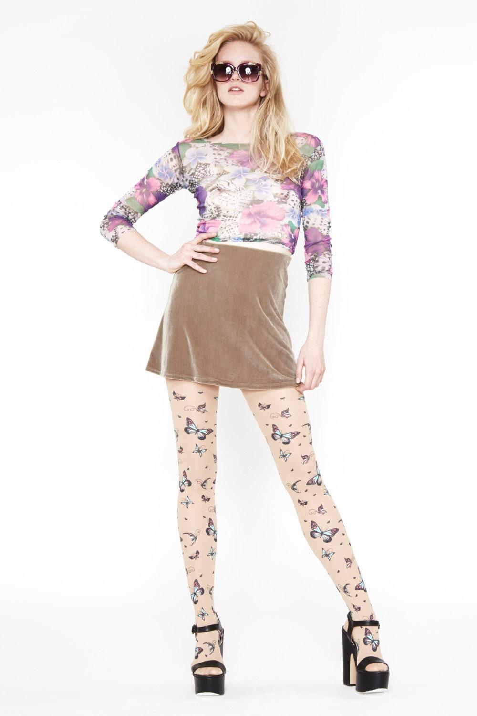 Velvet Underground Beige High Waist Mini Skirt // 90s - AmericanDeadstock