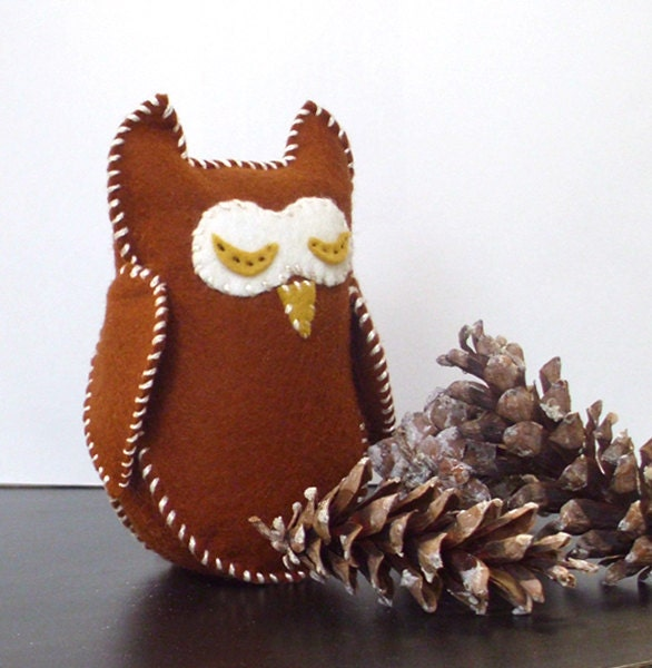 Wool Owl, Waldorf Stuffed Animal, Wool Felt Toy - Bronze and yellow hand sewn sleepy owl, the perfect natural toy for toddlers