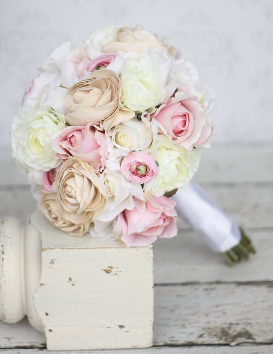 Items similar to silk bride bouquet shabby chic vintage for Bouquet chic