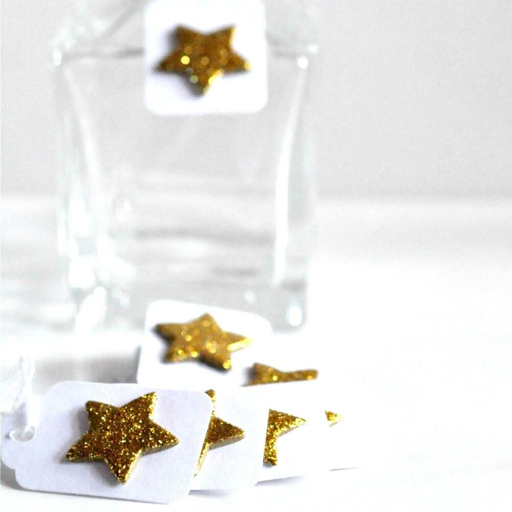 12 Gold Glitter Star Mini Tags Threaded White - 3GIRLSandaGOAT