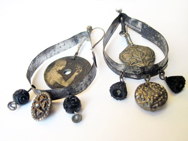 Black Black. Rustic Assemblage Earrings. Gypsy Grey Found Object Asymmetrical Monochromatic.