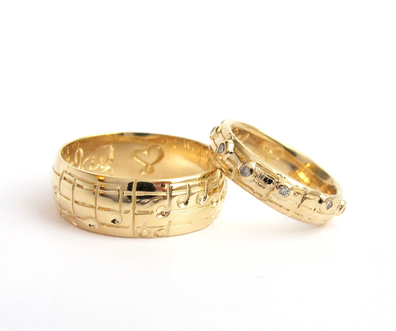 Your Song Wedding Ring Set - 10 Karat Yellow Gold - Made to Order ...