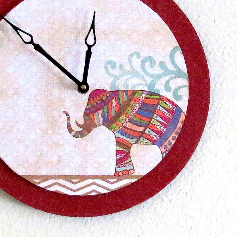 Wall Clock Bohemian Elephant Decor Decor And By Shannybeebo