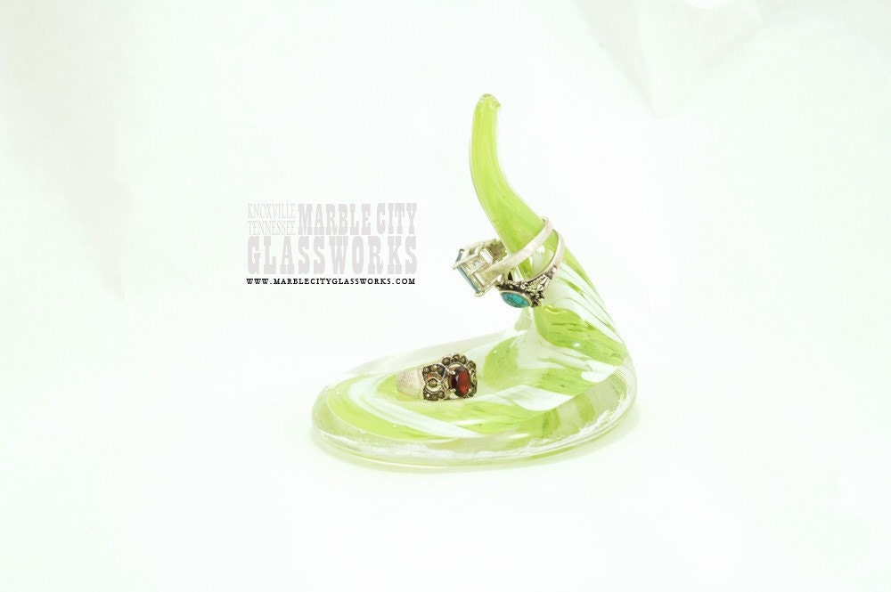 Lime Blown Glass Ring Holder