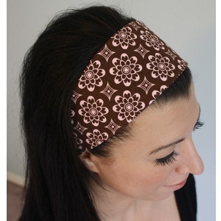 pink brown funky floral print wide scarf headband