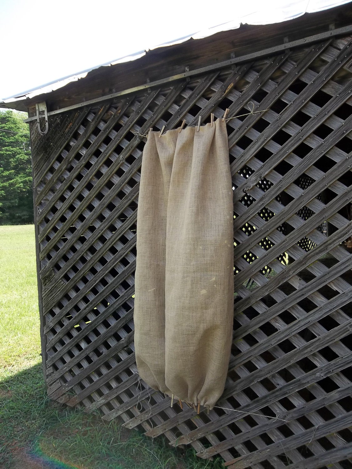 Burlap sheers french door drapes burlap curtains by misshettie for Country farmhouse window treatments