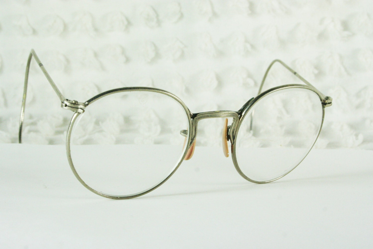Eyeglass Frames With Long Temples : 70s Round Glasses 1960s Safety Frame Mens Silver by ...