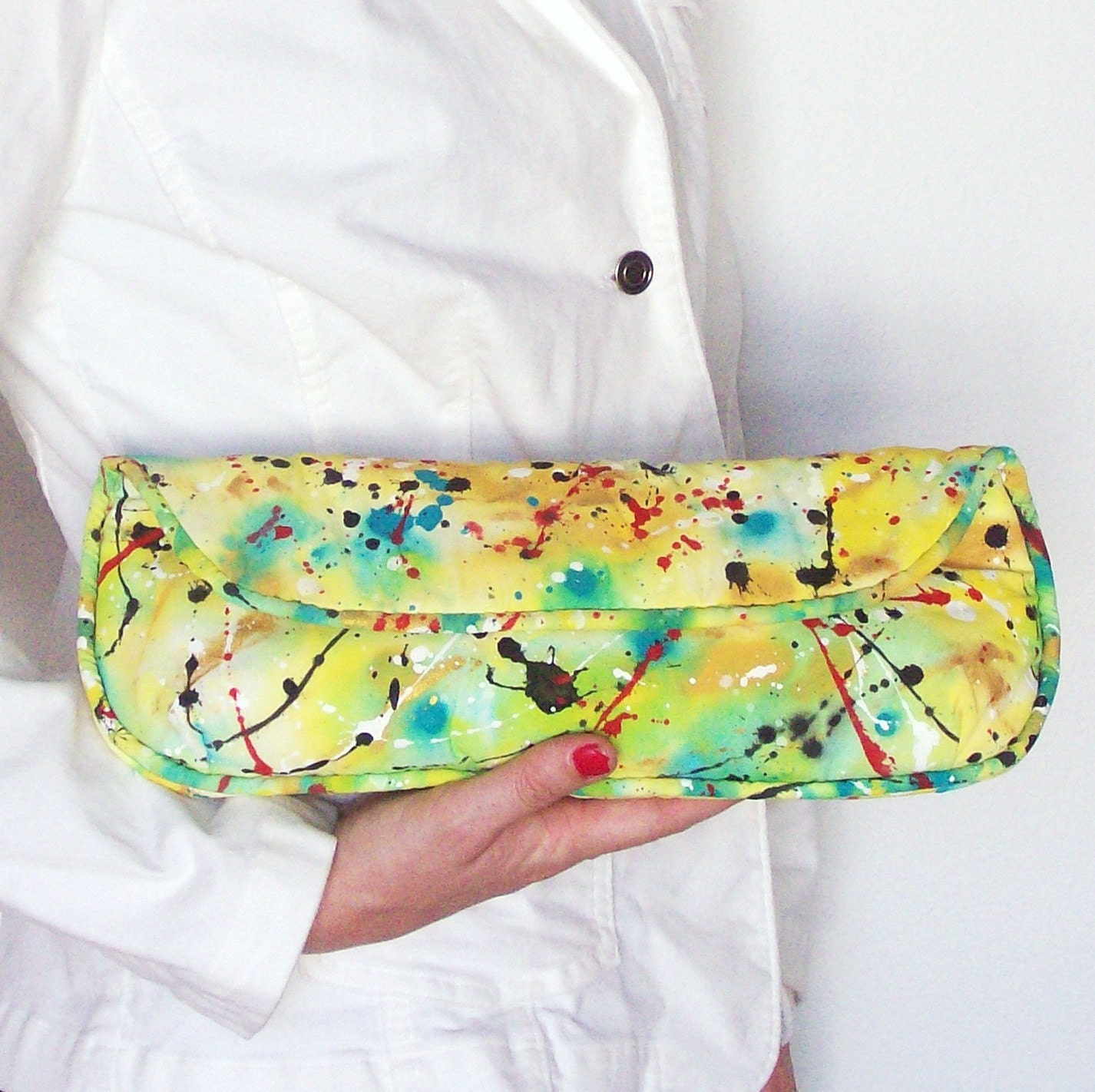 Handpainted UpCycled Graphic Graffiti Clutch in Canary Yellow