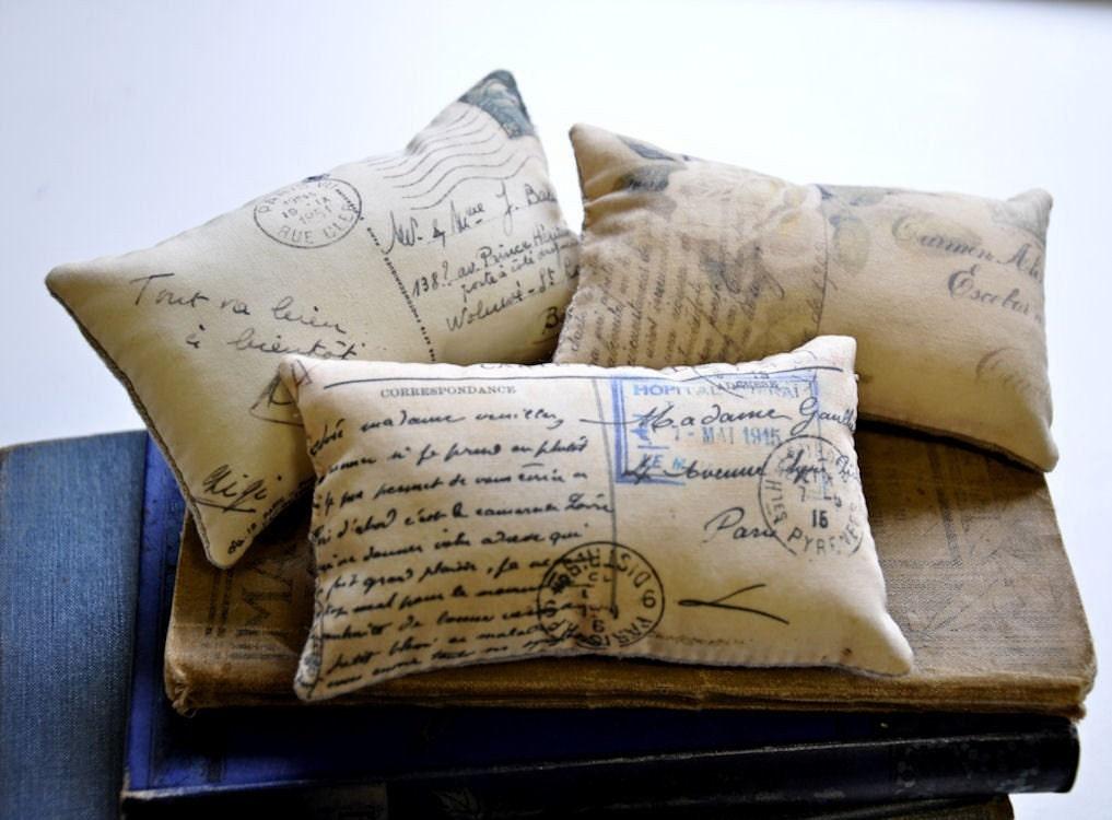 Three French postcard mini pillows