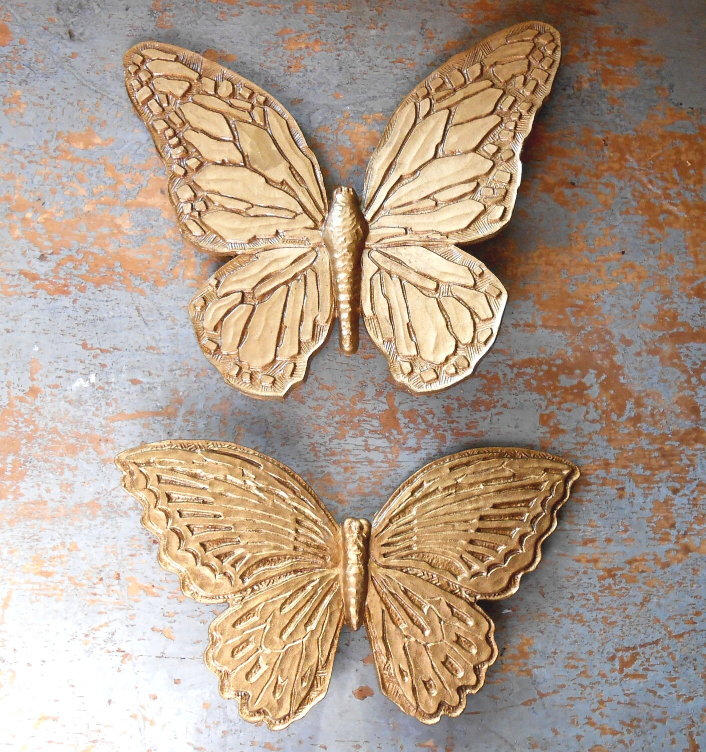 Vintage Wall Decor Butterflies Gold Wall Art Homco By