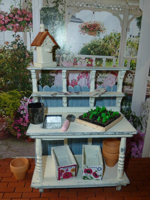 shabby chic potting bench for dollhouse by minisbyjan on etsy