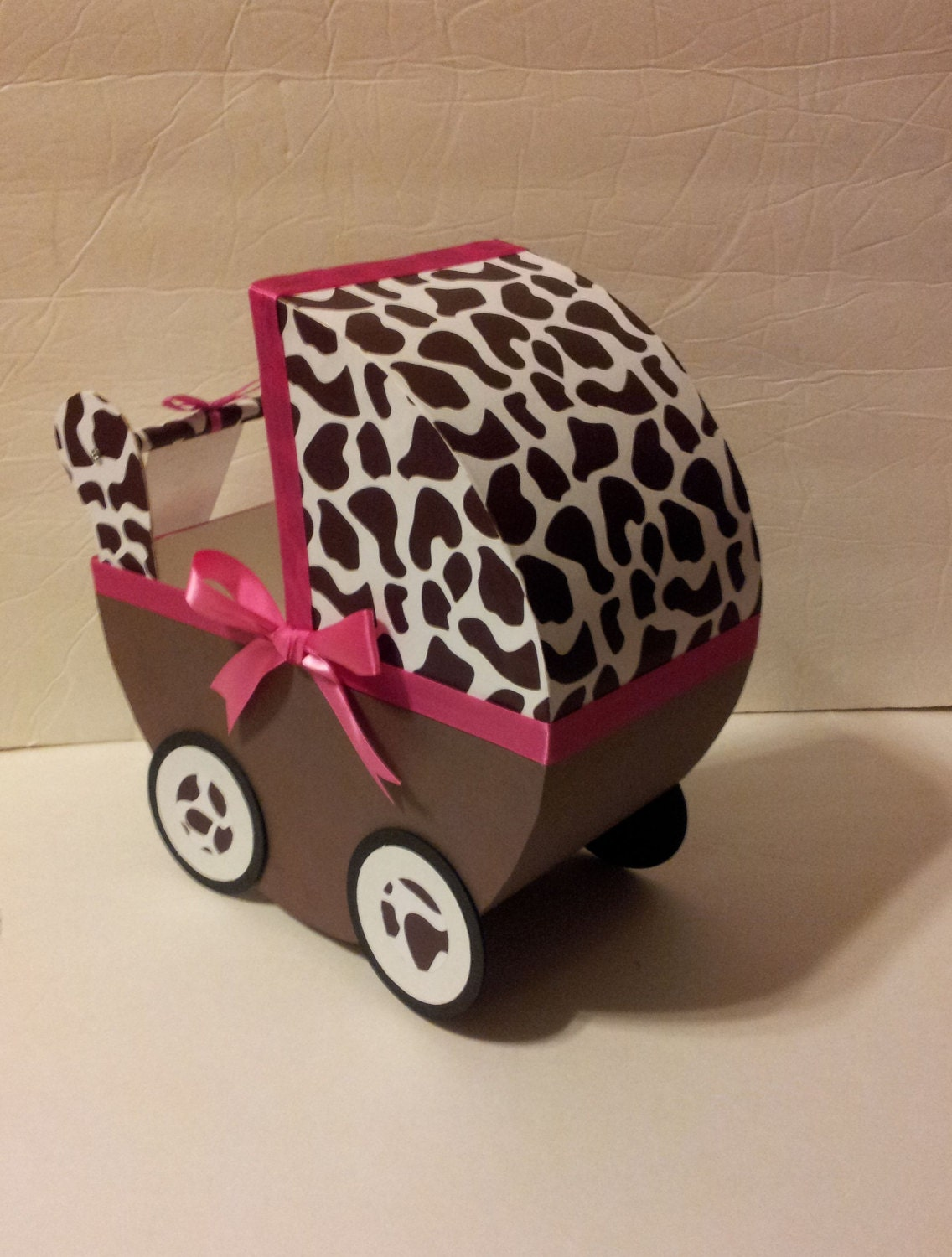 1 Brown Giraffe w/Hot Pink Ribbon Baby Carriage Table Centerpiece / Gift Box