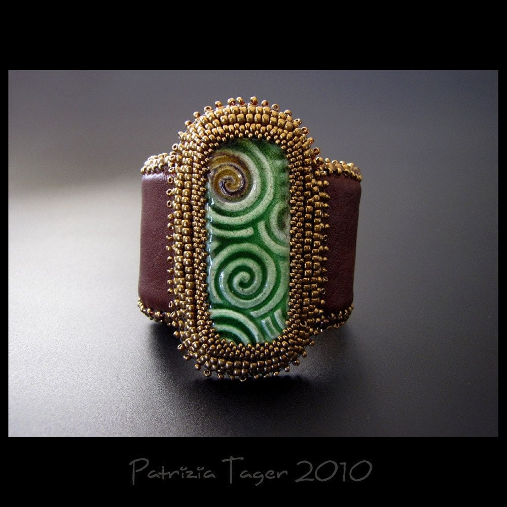 Chocolate and Mint Swirls  - OOAK Cuff