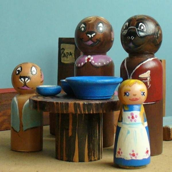 Wooden Doll,  Goldilocks and the Three Bears Playset  -  Waldorf Inspired Toy