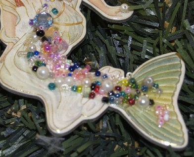 Mermaid With Fairy Wings Blue Crystals Glass Beads Pin