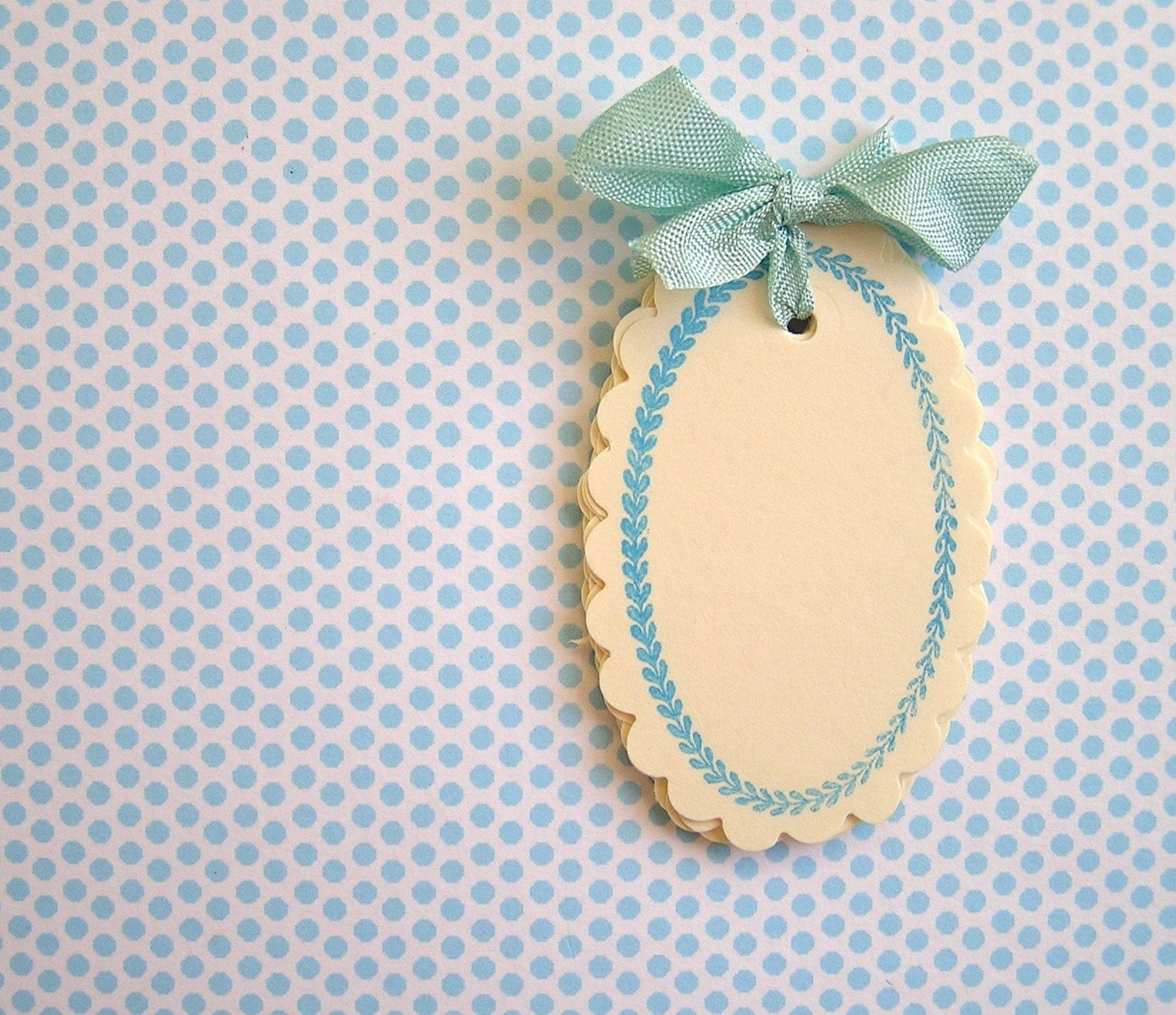 Blue/Ivory Laurel Tags
