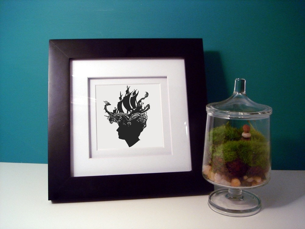 Lost At Sea Custom Silhouette Print Framed