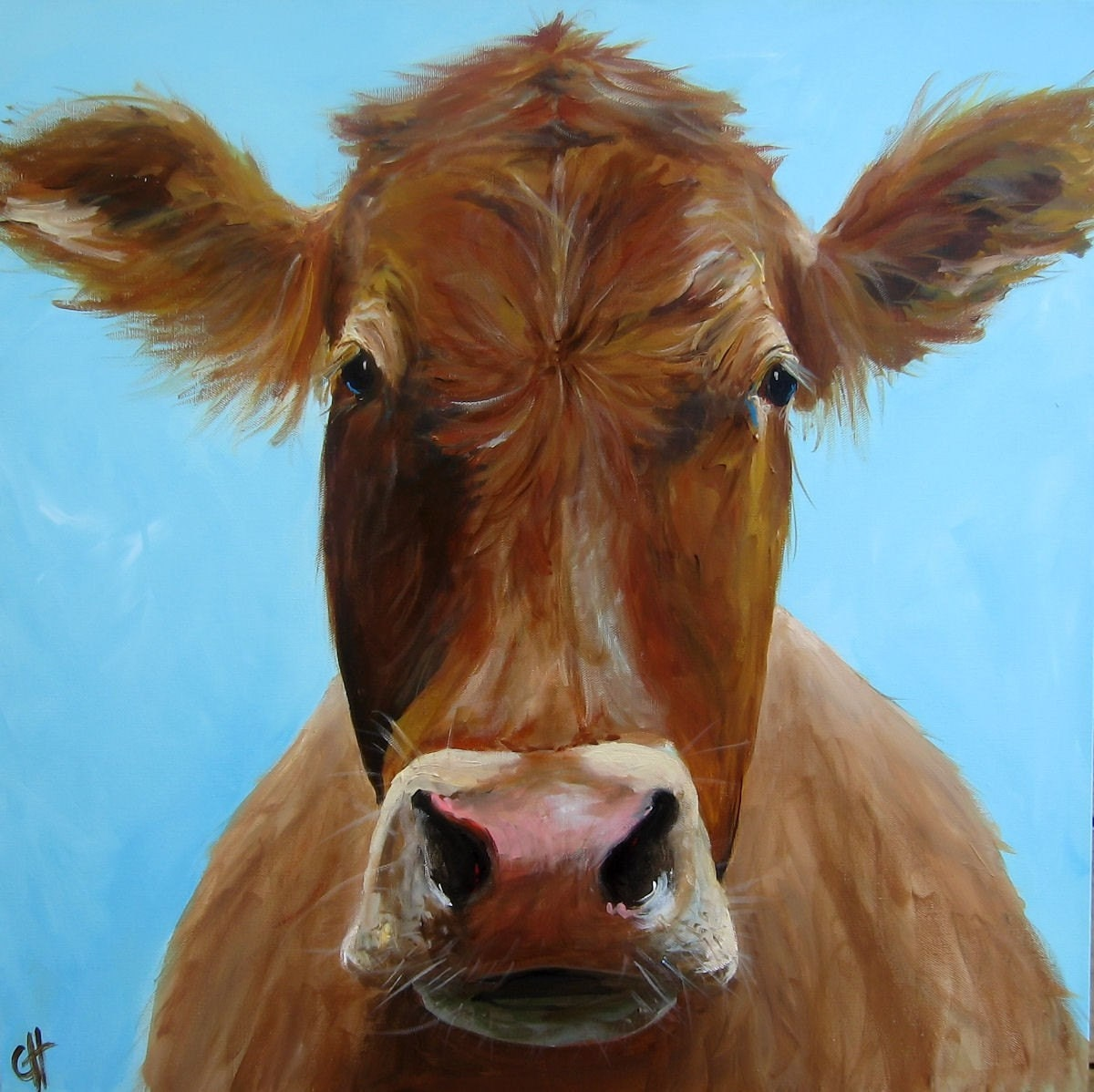 Iris the Cow - Giclee Print of an original painting - 10x10