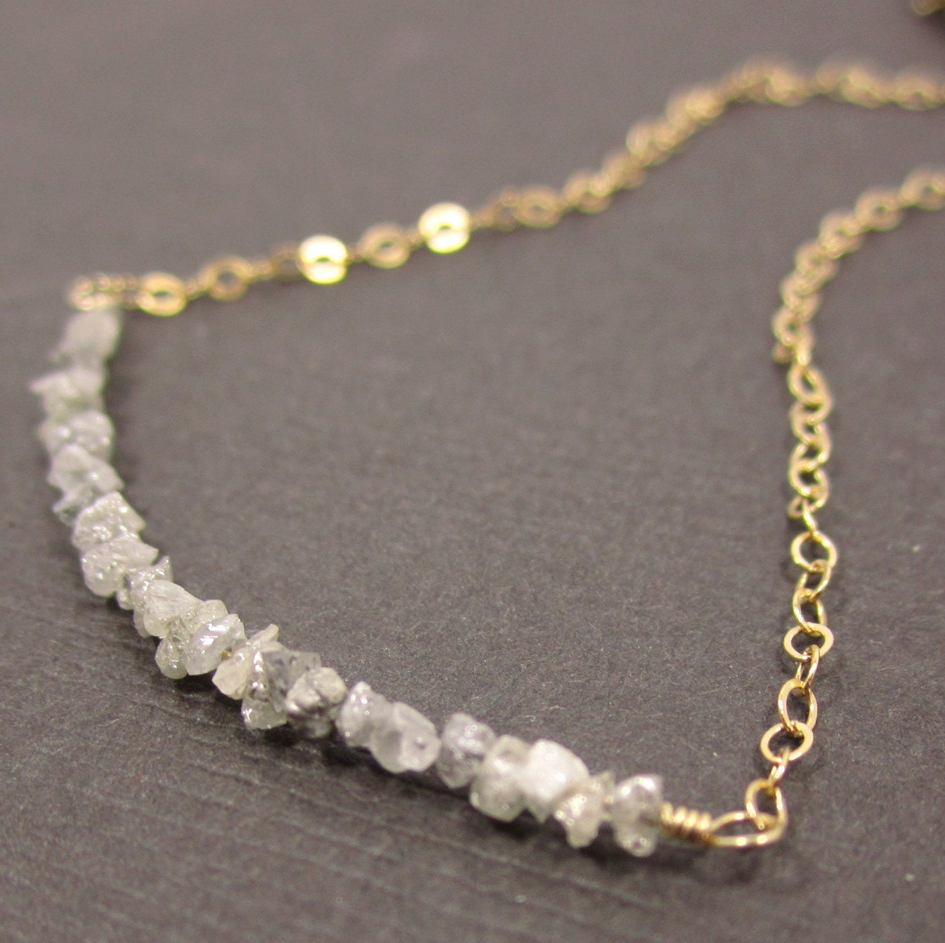 On A Highwire - Dove Grey Diamond Druzies and 14k Gold Filled