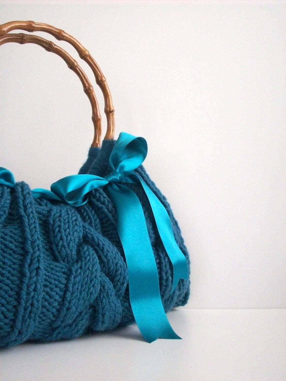 دستباف NzLbags -- کیف دستی -- شانه کیسه ای -- هر روز بگ سبز Knitted Nr -- 0106