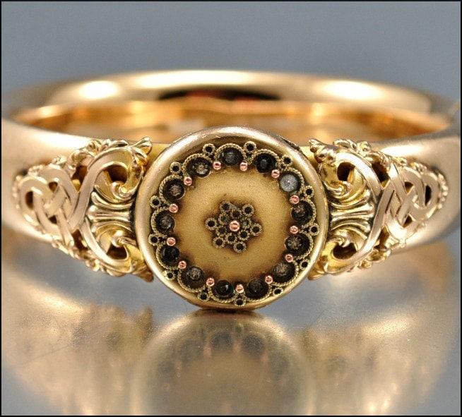 Gold Victorian Bracelet Locket Bangle Etruscan Jeweled By