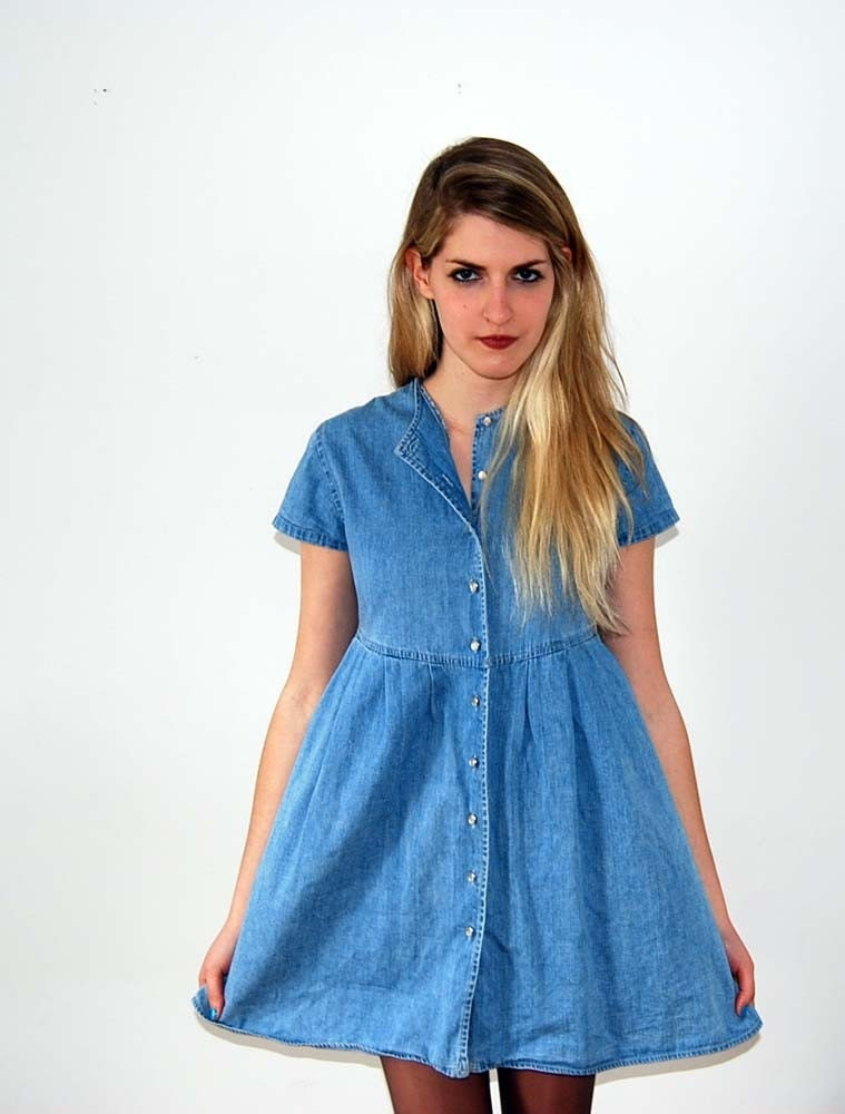 vintage denim baby doll dress