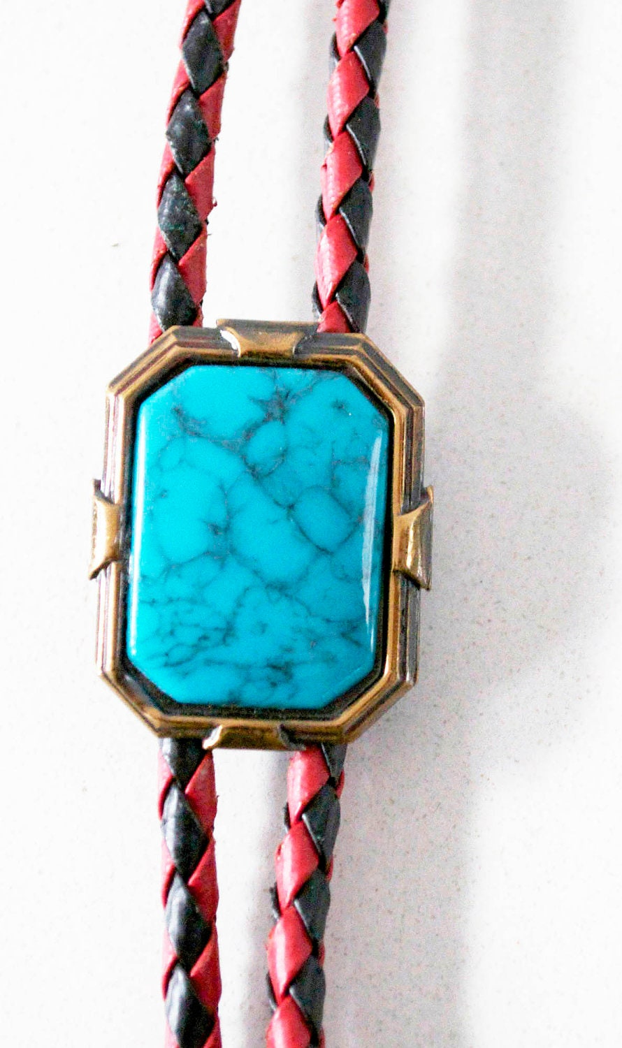 RETRO BOLO (Bootlace) Tie - TURQUOISE in gold setting, red & black