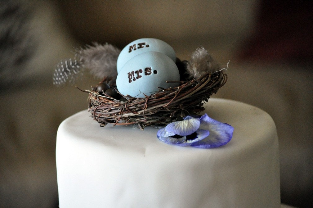 Blue Mr. and Mrs. 4 inch nest  Cake Topper