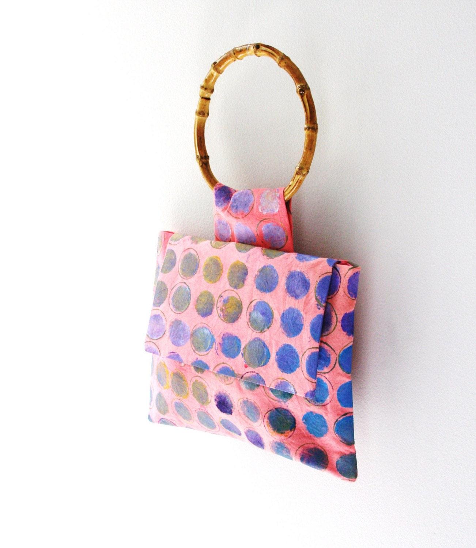 handpainted pink handbag with bamboo handle
